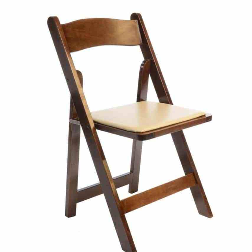 Rent Fruitwood Folding Chairs W/Ivory Padded Seat
