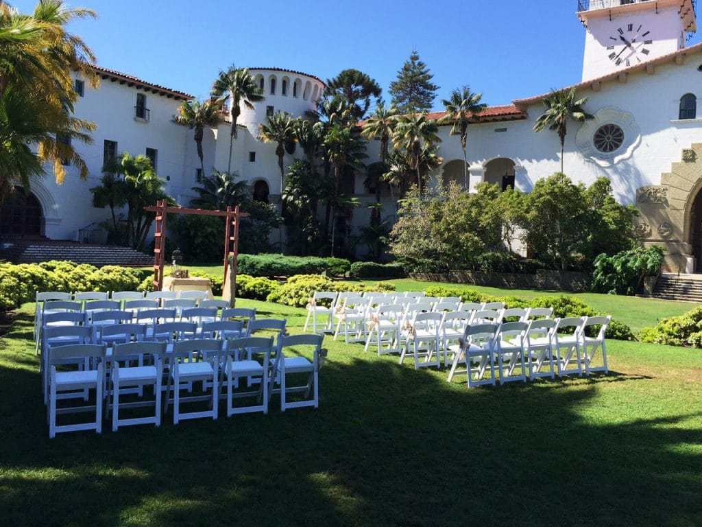 santa barbara courthouse wedding ceremony chairs