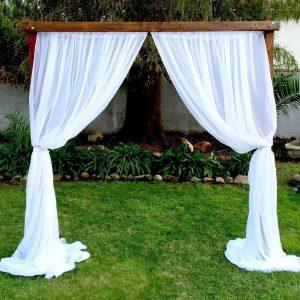 draped wood arch