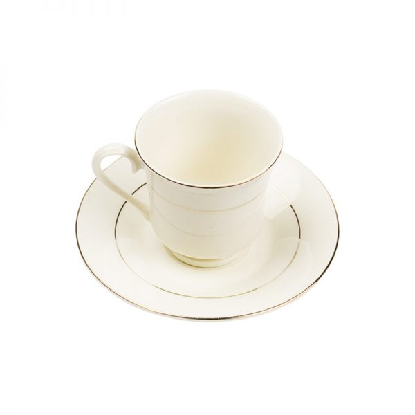 Double Gold White China Footed Cup & Saucer 8 Oz