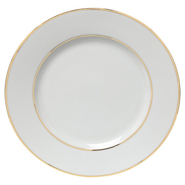 Double Gold White China Dinner Plate 10.5 Inch