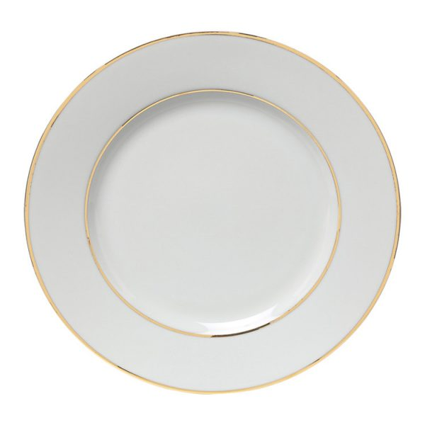 Double Gold White China Lunch Plate 9 Inch
