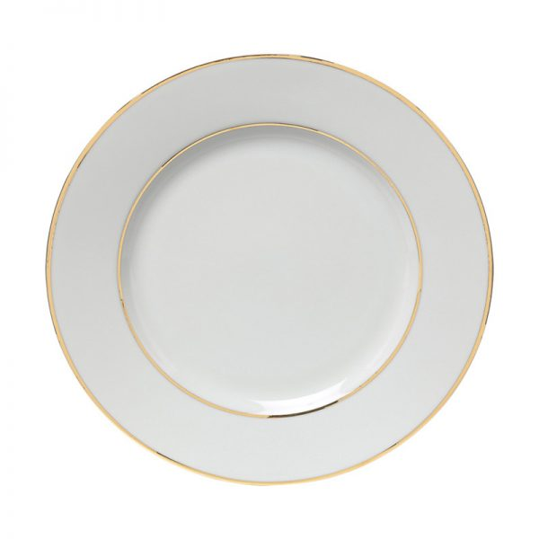 Double Gold White China Salad Plate 7.5 Inch
