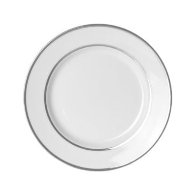 Double Platinum White China Salad Plate 7.5 Inch