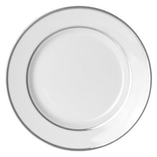 Double Platinum White China Dinner Plate 10.75 Inch
