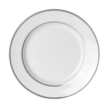 Double Platinum White China Lunch Plate 9 Inch