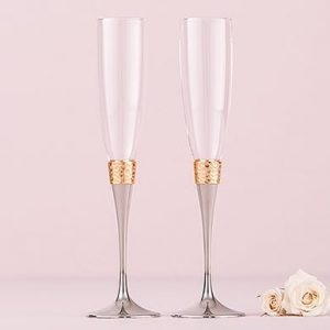 Luxe Hammered Gold & Silver Toasting Set