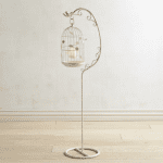 White & Gold Vintage Bird Cage Floor Lantern