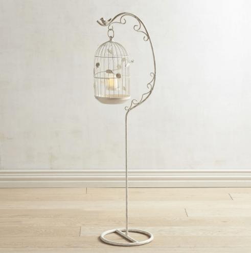 White & Gold Vintage Bird Cage Floor Lantern