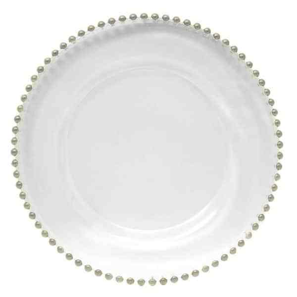 Rent Glass Charger Plates for Your Event | Silver Beaded Edge